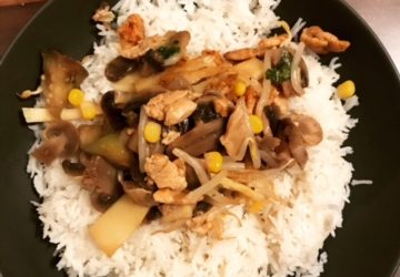 bunte Pfanne mit Reis